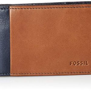 Fossil Men's Ward Leather RFID Blocking Money Clip Bifold Wallet, Navy