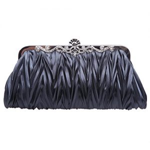 Fawziya Satin Pleated Clutch Purses For Women Evening Clutches For Wedding And Party-Gray