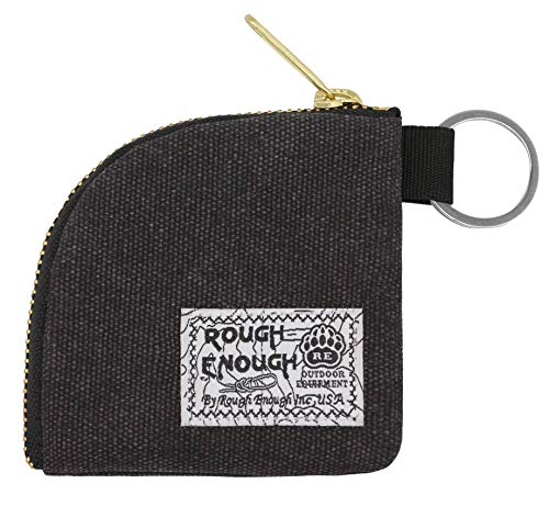 Rough Enough Earphone Earbuds Case Small Coin Purse Pouch for Boys Girls Teen Kids Men Women Coin Pouch with Zipper in Durable Heavy Duty Canvas for Travel Sport School College Black