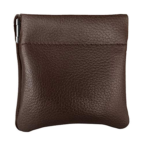 Classic Leather Squeeze Coin Purse change Holder For Men, Pouch size 3.5 in X 3.25 in. high, Brown
