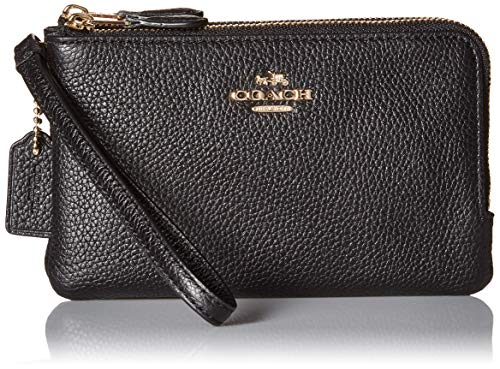 COACH Polished Pebbled Leather Double Corner Zip Bag Li/Black One Size