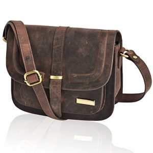 Crossbody Bag Brown Genuine Leather - Small Vintage Shoulder Bag for Women