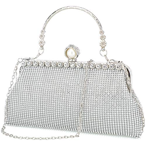 Silver clutch purses for women evening bags and clutches for women evening bag purses and handbags evening clutch purs(Silver)