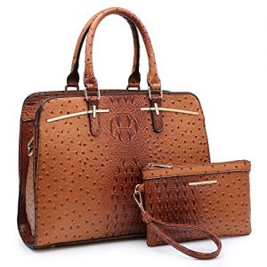 Dasein Women Satchel Handbag Shoulder Purse Top Handle Work Bag Tote Bag With Matching Wallet (Brown Ostrich)