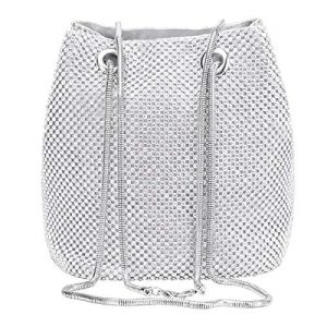 Selighting Rhinestones Crystal Clutch Evening Bags for Women Crossbody Shoulder Bucket Bags Prom Party Wedding Purses (One Size, Silver Bucket)