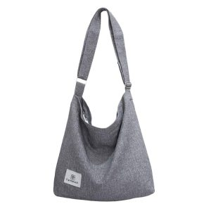 Hobo Bags for Women,Fanspack Women's Canvas Hobo Handbags Simple Casual Top Handle Tote Bag Crossbody Shoulder Bag Shopping Work Bag(Light Grey)
