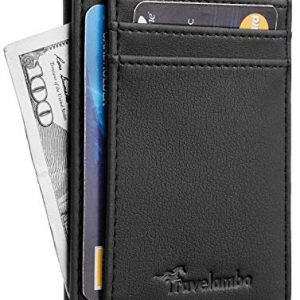 Travelambo Front Pocket Minimalist Leather Slim Wallet RFID Blocking Medium Size(VP Black)