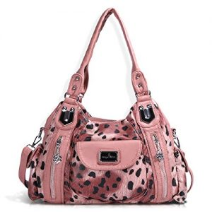 Handbag Hobo Women Handbag Roomy Multiple Pockets Street ladies' Shoulder Bag Fashion PU Tote Satchel Bag for Women (AK812-2Z Pink) (AK812-2Z Pink Leopard)