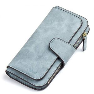 Wallet for Women PU Leather Clutch Purse Bifold Long Designer Ladies Checkbook Multi Credit Card Holder Organizer with Coin Zipper Pocket Light Blue