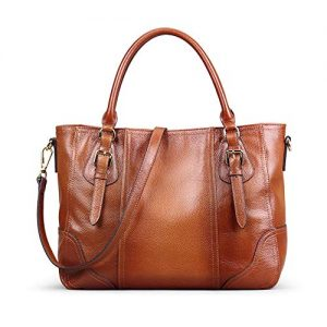 Kattee Women's Leather Purses and Handbags, Top Handle Satchel Shoulder Bag Designer Tote(Sorrel)