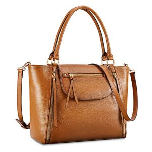 Kattee Genuine Leather Tote Bag for Women, Large Shoulder Purse Designer Satchel Handbag