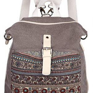 ArcEnCiel Women Girl Backpack Canvas Rucksack Shoulder Bag (Gray)