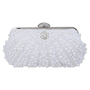 Fawziya Pearl Clutch Purses For Women Evening Bags And Clutches-White
