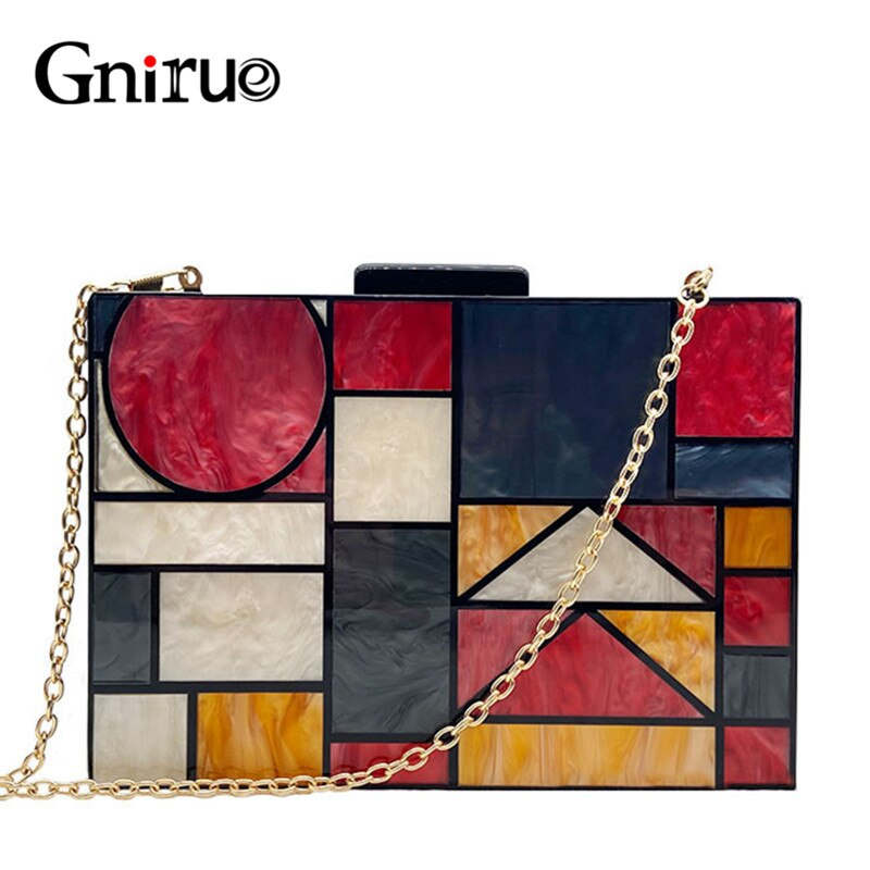 New brand acrylic patchwork Evening bags Handbags Vintage Women messenger bags Geometric Pattern Clutches Party Prom purse