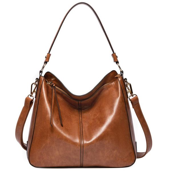Purses and Handbags for Women Designer Leather Hobo Tote Fashion Ladies Crossbody Large Bucket Shoulder Bag Oil Wax Two Toned Brown
