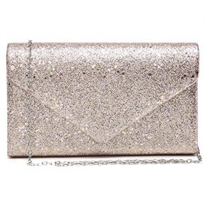 Women Glistening Evening Clutch Bags Formal Party Clutches Wedding Purses Cocktail Prom Clutches Champagne Silver Hardware