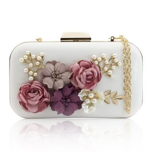 Women Clutches Purses Bags Flower Leather Envelope Pearl Wallet Evening Handbag(white)