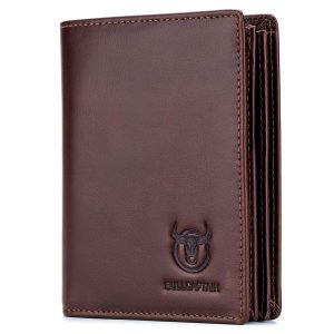 Bullcaptain Large Capacity Genuine Leather Bifold Wallet/Credit Card Holder for Men with 15 Card Slots QB-027 (Brown)