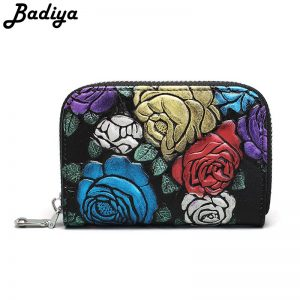 Women Genuine Leather Wallet Personlity Retro Embroidery Floral Zipper Clutch Bag Multi-card Slots ID Holder Ladies Coin Purse