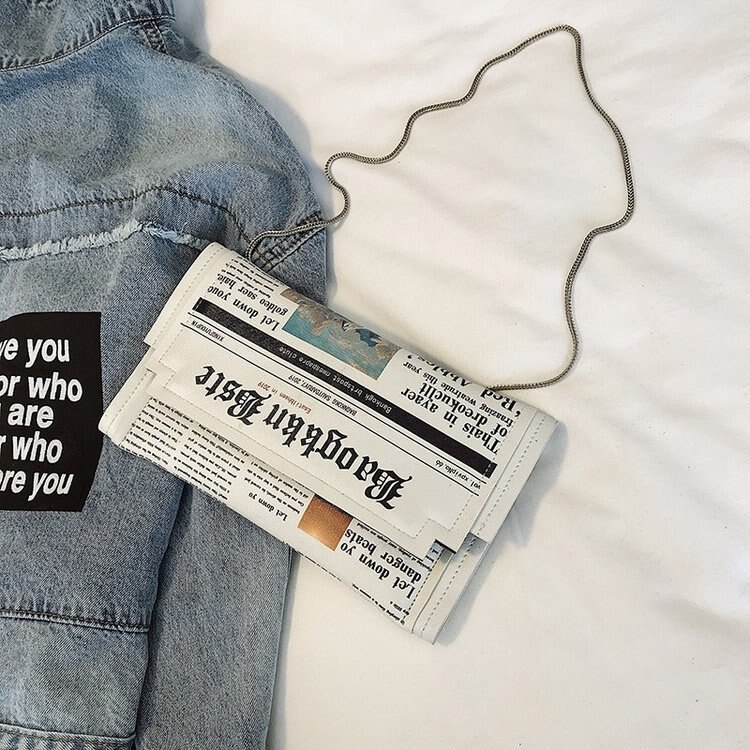Newspapers modeling day clutch bags letter envelope bag casual shoulder bag purse evening bags with clothing wallet