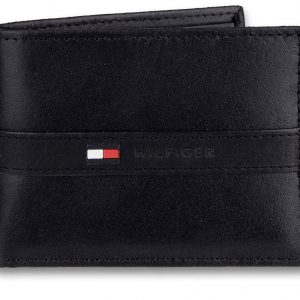 Tommy Hilfiger Men's Leather Wallet – Slim Bifold with 6 Credit Card Pockets and Removable Id Window, Black, One Size