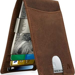 REAL LEATHER Wallets For Men - Money Clip Bifold Wallet RFID Front Pocket Thin Minimalist Mens Wallet Credit Card Holder