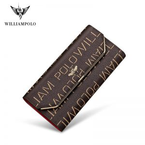 Luxury Brand Leather Wallets Women Long Coin Purses