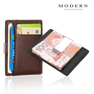 Brand Genuine Leather Mini Wallets with Money Clip
