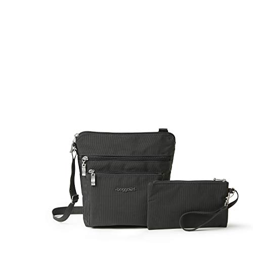 Baggallini Pocket Crossbody Bag With RFID-Protected Wristlet, Charcoal