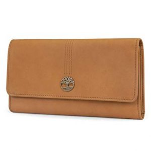 Timberland Leather RFID Flap Wallet Clutch Organizer, Wheat (Nubuck)