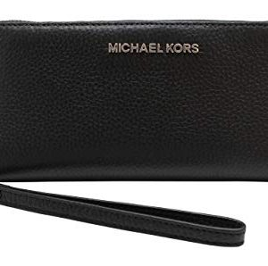 Michael Kors Jet Set Travel Continental Zip Around Leather Wallet Wristlet (Black with Silver Hardware)