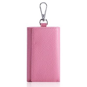 HOLLY TRIP Unisex Compact Premium Leather Key Case Wallet Keychain Key Holder Ring with 6 Hanging Buckle Hooks Snap Closure, Pink