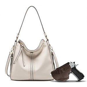 Beige Large Concealed Carry Hobo Purse for Women Studded Leather Crossbody Shoulder Bag With Gun Holster - Conceal Weapon MWC-G1001BG
