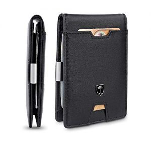TRAVANDO Mens Wallet Money Clip PHOENIX Front Pocket Slim RFID Bifold Gifts (Smooth, Black)