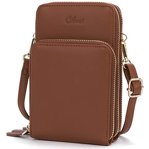 Small Crossbody Bag for Women Leather Cellphone Shoulder Purses Lightweight Fashion Travel Wallet Designer Ladies Brown