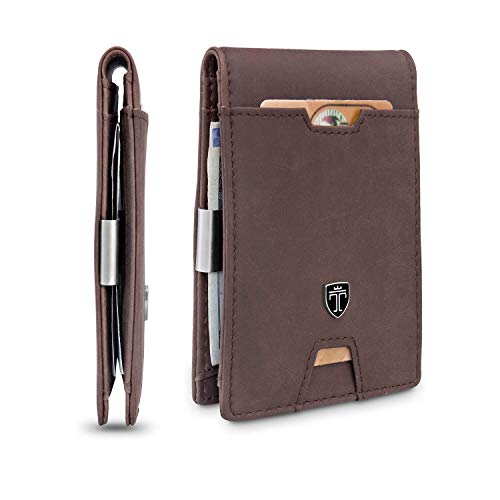 TRAVANDO Mens Wallet Money Clip PHOENIX Front Pocket Slim RFID Bifold Gifts (Vintage, Vintage Brown)