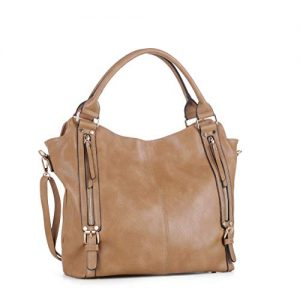 DELUXITY Hobo Shoulder Bags for Women Tote Handbags Fashion Large Capacity Ladies Crossbody Front Zippers   Beige