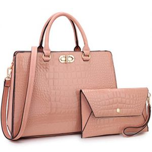 Dasein Women Handbags Satchel Purses Shoulder Bag Top Handle Work Tote for Lady with Matching Wristlet 2pcs Set (Croco pink)
