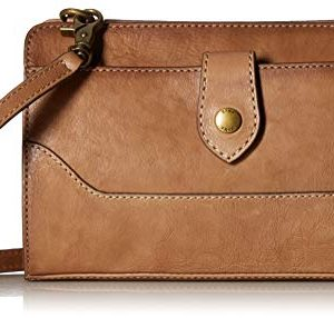 Frye Lucy Crossbody Clutch Beige Polished Full Grain One Size