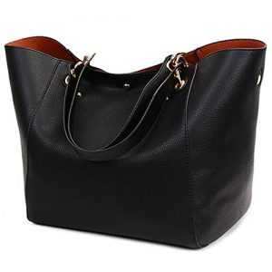 Pahajim Womens Large Leather Bucket Tote Bags Tote Purses Top Handle Satchel Handbags for Women (black)