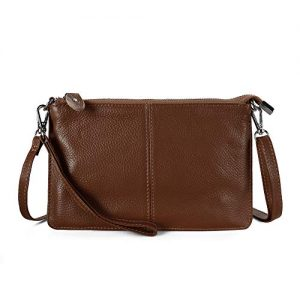 Befen Women Leather Wristlet Wallet Shoulder Crossbody Bag Clutch Purses with 6 Card Slots/Wrist Strap/Crossbody Strap - Walnut Brown