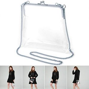 MOETYANG Transparent Clutch Clear Purse NFL&PGA Stadium Approved Bags (Silver)
