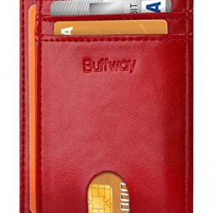 Buffway Slim Minimalist Front Pocket RFID Blocking Leather Wallets for Men Women - Alaska Cherry