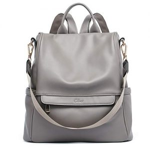 Women Backpack Purse Fashion Leather Large Travel Bag Ladies Shoulder Bags grey