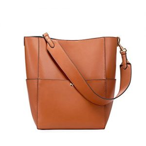 Kattee Hobo Bags for Women, Genuine Leather Tote Purses and Handbags Shoulder Bucket Bags(Brown)