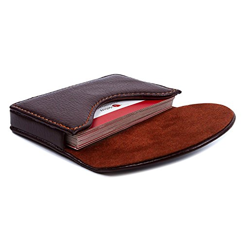 Leather Business Card Holder for Men Women, UBAYMAX Business Name Card Case Credit Card Holder Slim Card Wallet Carrier Leather Card Pocket Card Holder with Magnetic Shut (Leather Brown)