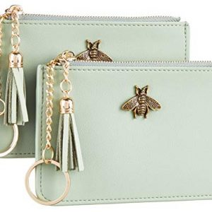 2 Pack Women Coin Purse Change Wallet Coin Pouch Card Holder Clutch with Key Chain Ring Tassel Zip by Gostwo(Napa Green Blooming)