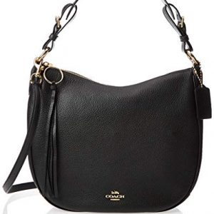 COACH Polished Pebble Leather Sutton Hobo Gold/Black One Size