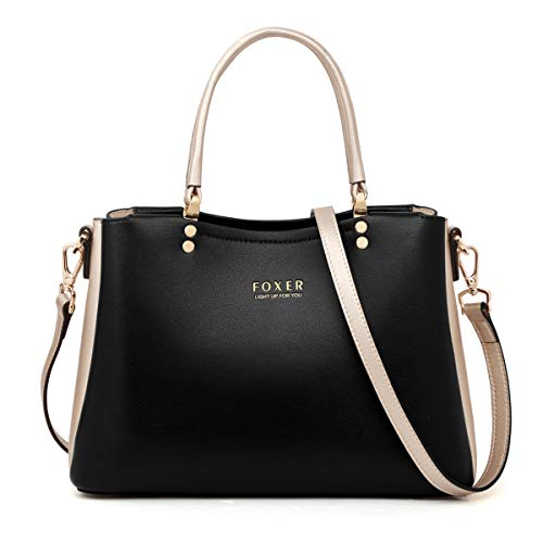 Leather Handbags for Women, Genuine Leather Ladies Top-handle Bags with Adjustable Shoulder Strap Women's Designer Tote Bags Womens Crossbody Messenger Bags Casual Satchels for Women Girls (Black)
