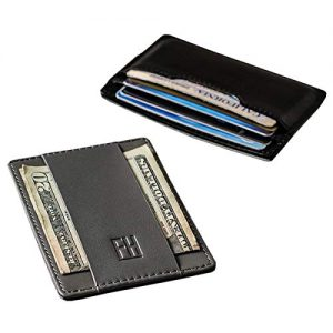 F&H Signature Slim RFID Card Holder Wallet in Top Grain Leather (Smooth Black/Grey)